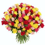 Bouquet of 101 different colored roses - flowers and bouquets on 7roz.kiev.ua