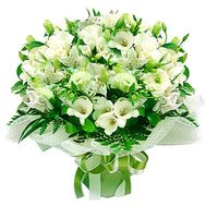 Bouquet of 21 alstromeries and 5 roses - flowers and bouquets on 7roz.kiev.ua