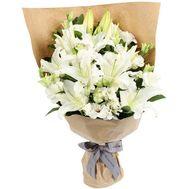 Бекет из 9 белых лилий - цветы и букеты на 7roz.kiev.ua