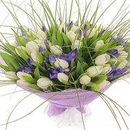Bouquet of 41 tulips and 18 irises - flowers and bouquets on 7roz.kiev.ua