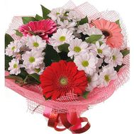 Bouquet of 4 chrysanthemums and 3 gerberas - flowers and bouquets on 7roz.kiev.ua