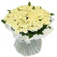 Bouquet of flowers from 101 white roses - flowers and bouquets on 7roz.kiev.ua