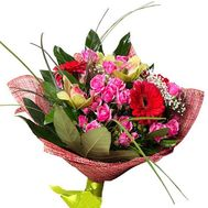 Bouquet of 3 orchids, 5 roses and 3 gerberas - flowers and bouquets on 7roz.kiev.ua