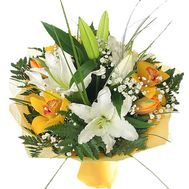 Bouquet of flowers from 2 lilies and 5 orchids - flowers and bouquets on 7roz.kiev.ua
