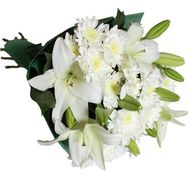 Bouquet of 2 lilies and 3 chrysanthemums - flowers and bouquets on 7roz.kiev.ua