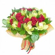 Bouquet of 11 orchids and 16 roses - flowers and bouquets on 7roz.kiev.ua
