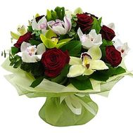 Bouquet of 12 orchids and 9 roses - flowers and bouquets on 7roz.kiev.ua