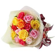 Bouquet of 15 different-colored roses - flowers and bouquets on 7roz.kiev.ua
