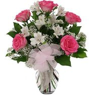 Bouquet of flowers from 5 roses and 4 alstroemerias - flowers and bouquets on 7roz.kiev.ua