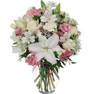 Bouquet of flowers of 5 roses, 5 alstroemerias, 16 carnations and 1 lily - flowers and bouquets on 7roz.kiev.ua