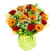Bouquet of flowers of 9 roses, 7 gerberas and 5 alstroemerias - flowers and bouquets on 7roz.kiev.ua
