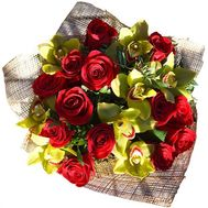Bouquet of 8 orchids and 13 roses - flowers and bouquets on 7roz.kiev.ua