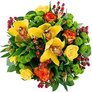 Bouquet of flowers from 8 roses, 4 chrysanthemums and 3 orchids - flowers and bouquets on 7roz.kiev.ua