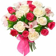Bouquet of flowers from 17 roses and 4 orchids - flowers and bouquets on 7roz.kiev.ua
