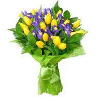 Bouquet of flowers from 19 tulips and 10 irises - flowers and bouquets on 7roz.kiev.ua