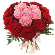 Bouquet of flowers of 17 red and pink roses - flowers and bouquets on 7roz.kiev.ua