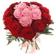 Букет цветов из 17 красных и розовых роз - цветы и букеты на 7roz.kiev.ua