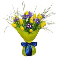 Bouquet of 13 tulips and 8 irises - flowers and bouquets on 7roz.kiev.ua