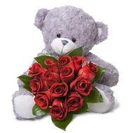 Букет из 13 роз + мишка - цветы и букеты на 7roz.kiev.ua