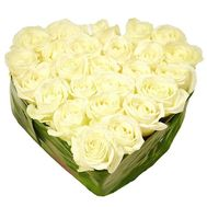 Heart of 27 white roses - flowers and bouquets on 7roz.kiev.ua