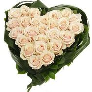 Heart of 25 white roses - flowers and bouquets on 7roz.kiev.ua