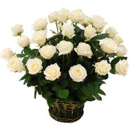 Basket of 29 white roses - flowers and bouquets on 7roz.kiev.ua