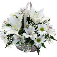 Basket of 1 lilies, 7 chrysanthemums and 7 alstromeries - flowers and bouquets on 7roz.kiev.ua