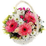 Basket of 6 roses, 5 chrysanthemums and 3 gerberas - flowers and bouquets on 7roz.kiev.ua