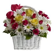 Basket of 8 chrysanthemums and 11 roses - flowers and bouquets on 7roz.kiev.ua