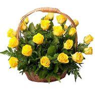 Корзина из 25 желтых роз - цветы и букеты на 7roz.kiev.ua