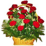 Корзина цветов из 21 красной розы - цветы и букеты на 7roz.kiev.ua