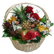 Fruit basket with flowers - flowers and bouquets on 7roz.kiev.ua