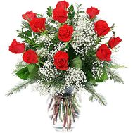 Winter bouquet of flowers from roses and alstromeries - flowers and bouquets on 7roz.kiev.ua