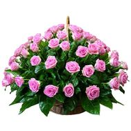 Basket of 75 pink roses - flowers and bouquets on 7roz.kiev.ua