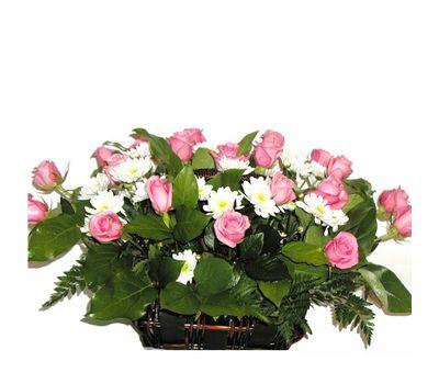 """""""Корзина из 21 розы и 6 хризантем"""" в интернет-магазине цветов 7roz.kiev.ua"""