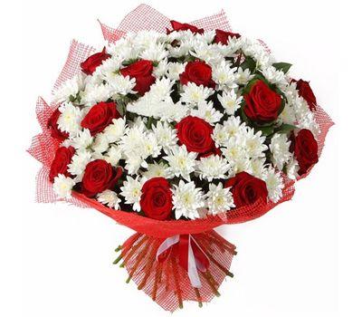 """""""Букет цветов из 15 роз и 12 хризантем"""" в интернет-магазине цветов 7roz.kiev.ua"""