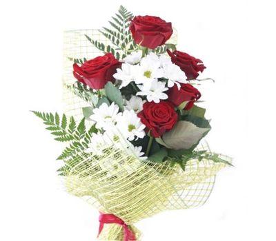 """""""Букет из 5 роз и 2 хризантем"""" в интернет-магазине цветов 7roz.kiev.ua"""