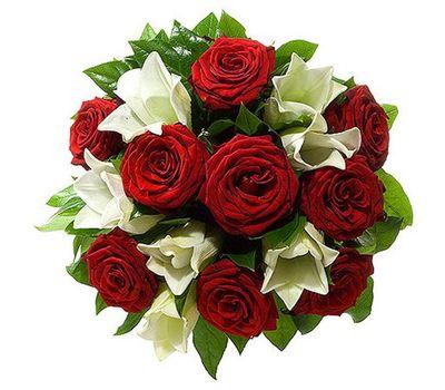 """""""Букет из красных роз и белой лилии"""" в интернет-магазине цветов 7roz.kiev.ua"""