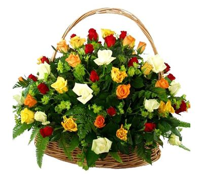 """""""Корзина из 51 разноцветной розы"""" в интернет-магазине цветов 7roz.kiev.ua"""
