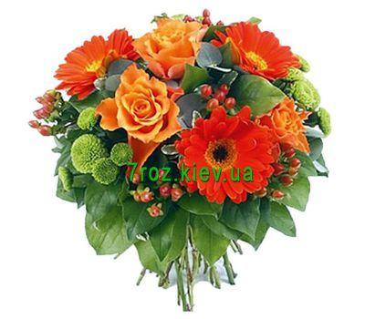 """""""Букет цветов из 3 роз, 3 гербер и 3 хризантем"""" в интернет-магазине цветов 7roz.kiev.ua"""
