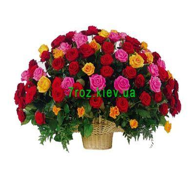 """""""Корзина из 101 разноцветной розы"""" в интернет-магазине цветов 7roz.kiev.ua"""