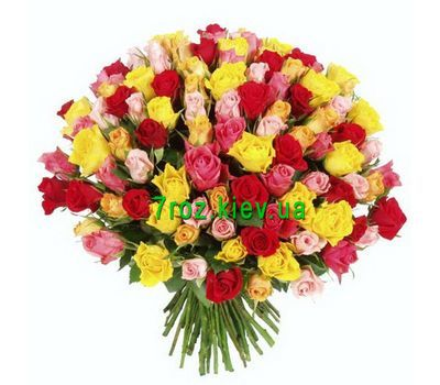 """Bouquet of 101 different colored roses"" in the online flower shop 7roz.kiev.ua"