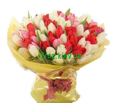 """""""Bouquet of 101 different colored tulips"""" in the online flower shop 7roz.kiev.ua"""