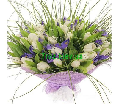 """Bouquet of 41 tulips and 18 irises"" in the online flower shop 7roz.kiev.ua"