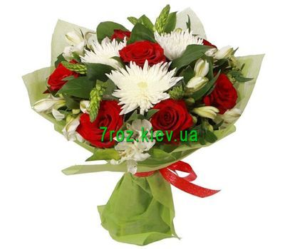 """Bouquet of 7 roses, 3 chrysanthemums and 7 alstroemerias"" in the online flower shop 7roz.kiev.ua"