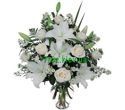 """Bouquet of flowers from 8 roses and 1 lily"" in the online flower shop 7roz.kiev.ua"