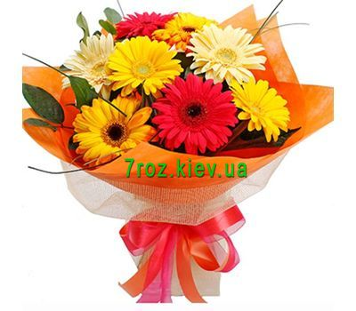 """Bouquet of 9 different gerberas"" in the online flower shop 7roz.kiev.ua"