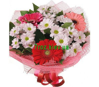 """Bouquet of 4 chrysanthemums and 3 gerberas"" in the online flower shop 7roz.kiev.ua"