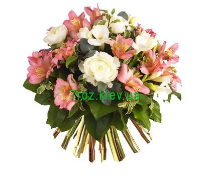 """Bouquet of flowers from 8 alstromeries and 7 roses"" in the online flower shop 7roz.kiev.ua"