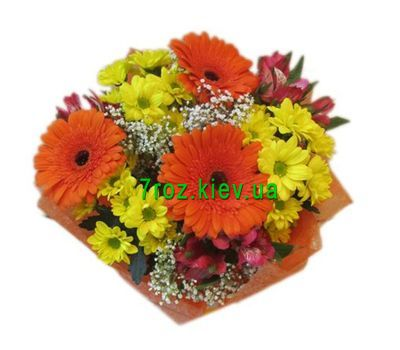 """Bouquet of 3 gerberas, 3 chrysanthemums and 3 alstroemerias"" in the online flower shop 7roz.kiev.ua"